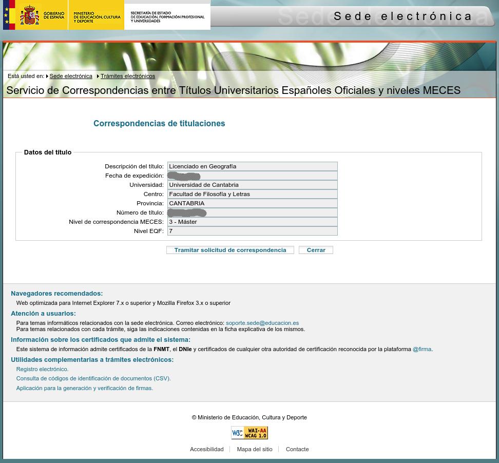 Solicitud del certificado de correspondencia para títulos de Geografía preBolonia