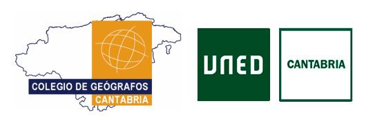 Logo de la UNED y del Colegio de geógrafos, delegación de Cantabria
