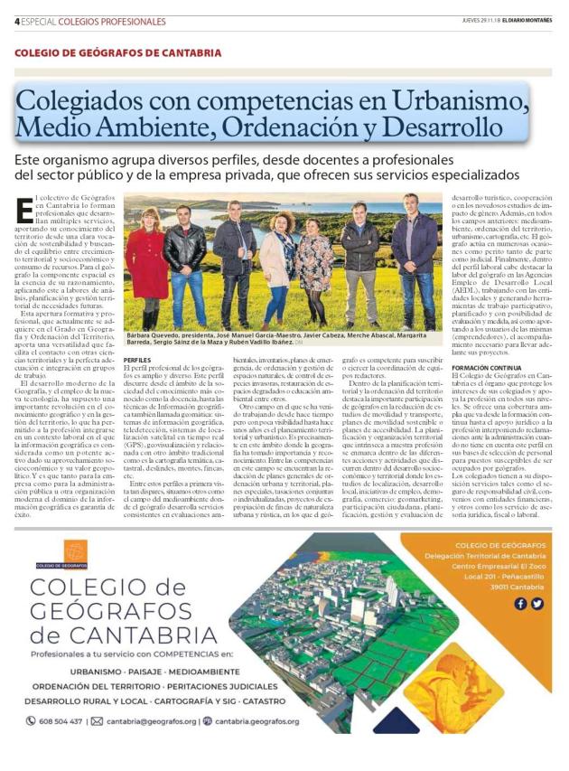 artículos que han sido publicado por el Diario Montañés acerca de los Colegios Profesionales en 2018