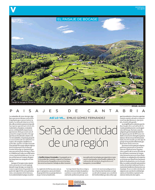 Seña de identidad de una región. Artículo publicado en el Diario Montañés y escrito por Emilio Gómez Fernández.