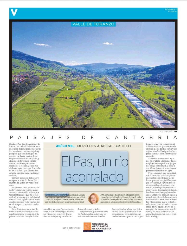 El Pas, un río acorralado. Artículo publicado en el Diario Montañés y escrito por Mercedes Abascal Bustillo.