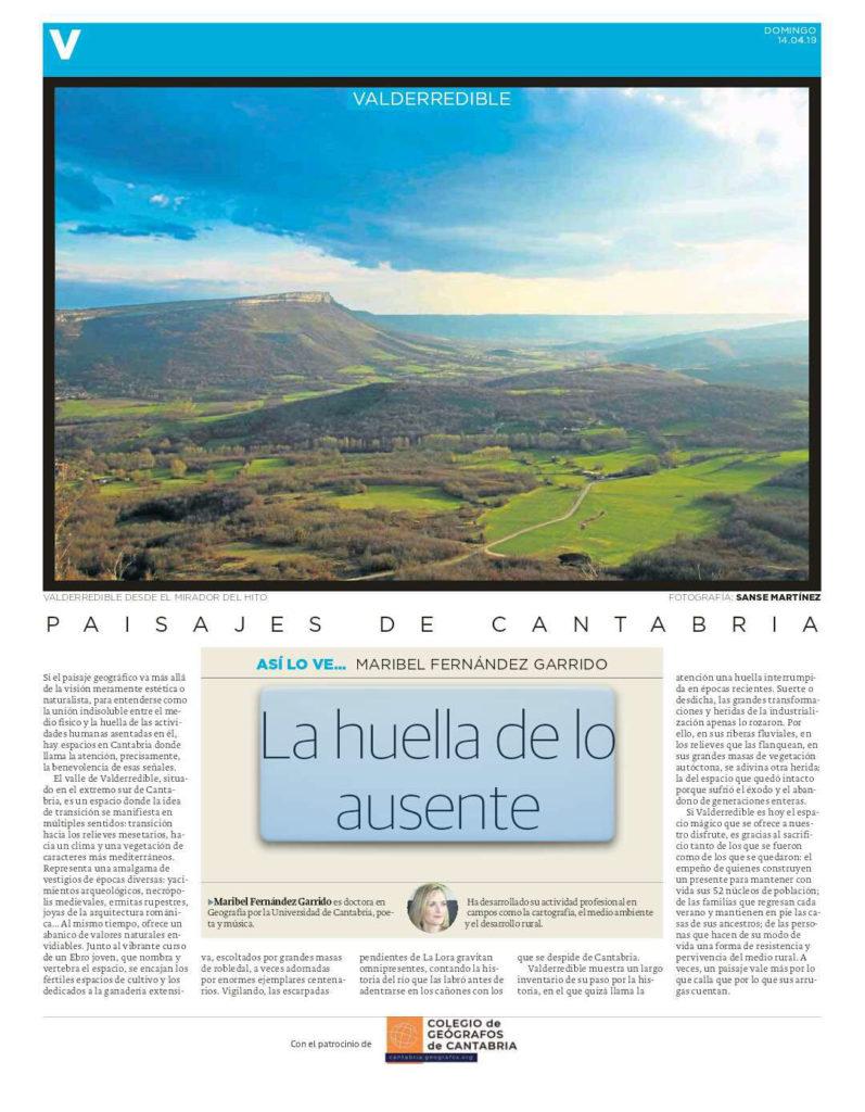 PDF del artículo publicado por el Diario Montañés el 14 de abril de 2019 y escrito por Maribel Fernández Garrido