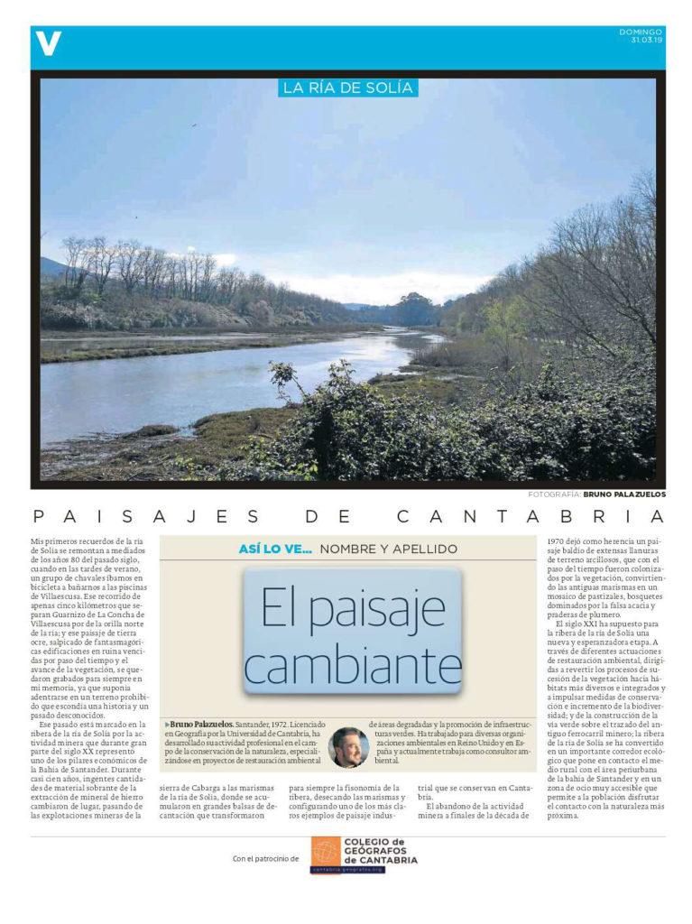 Artículo publicado en el Diario Montañés el día 31 de marzo de 2019 y escrito por Bruno Palazuelos