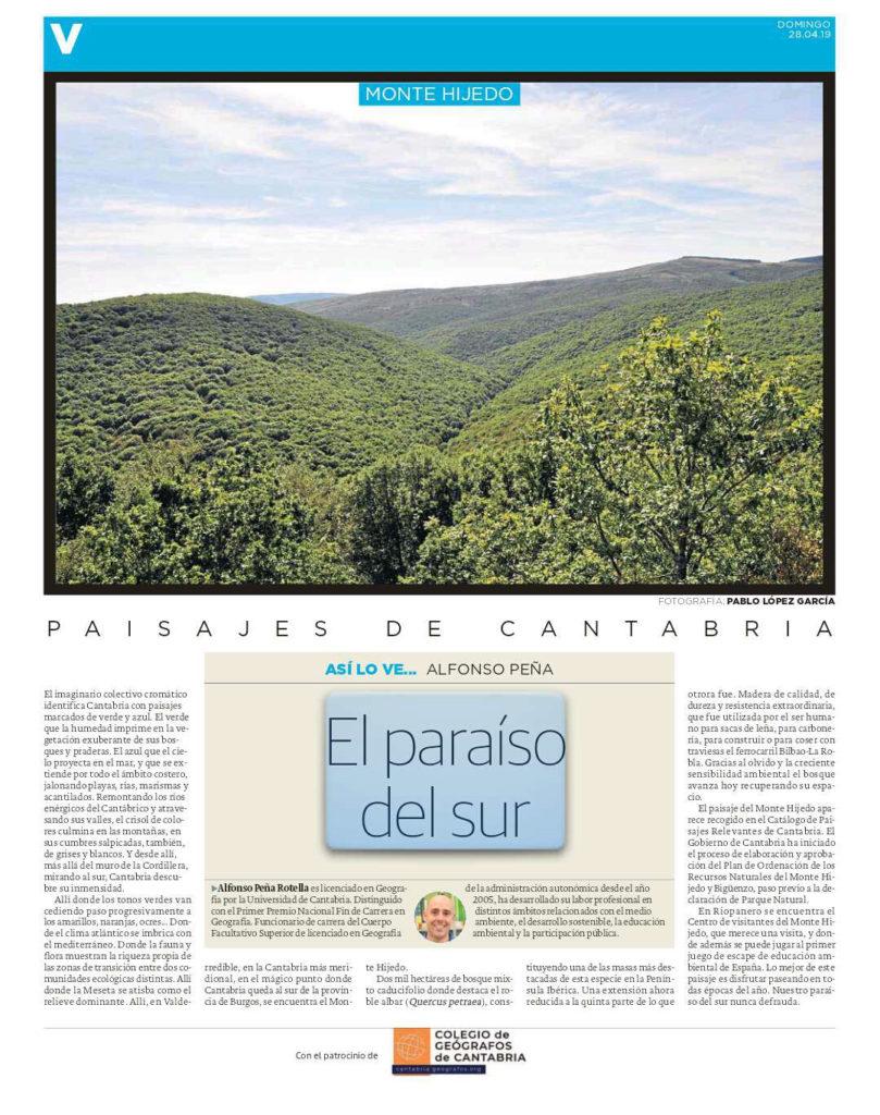 PDF del artículo publicado por el Diario Montañés el 28 de abril de 2019 y escrito por Alfonso Peña