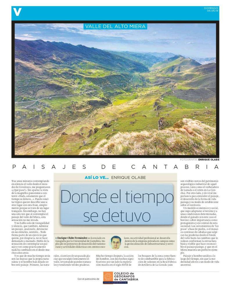 PDF del artículo publicado por el Diario Montañés el 05 de mayo de 2019 y escrito por Enrique Olabe