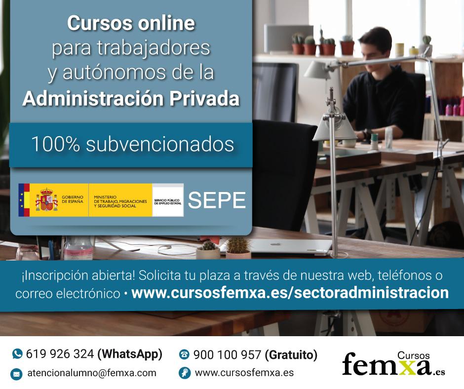 Información sobre formación online subvencionada por el Servicio Público de Empleo Estatal