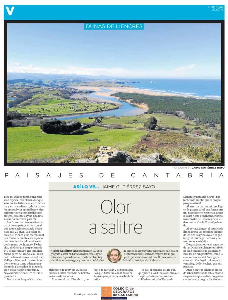 PDF del artículo publicado por el Diario Montañés el 7 de julio de 2019 y escrito por Jaime Gutiérrez Bayo