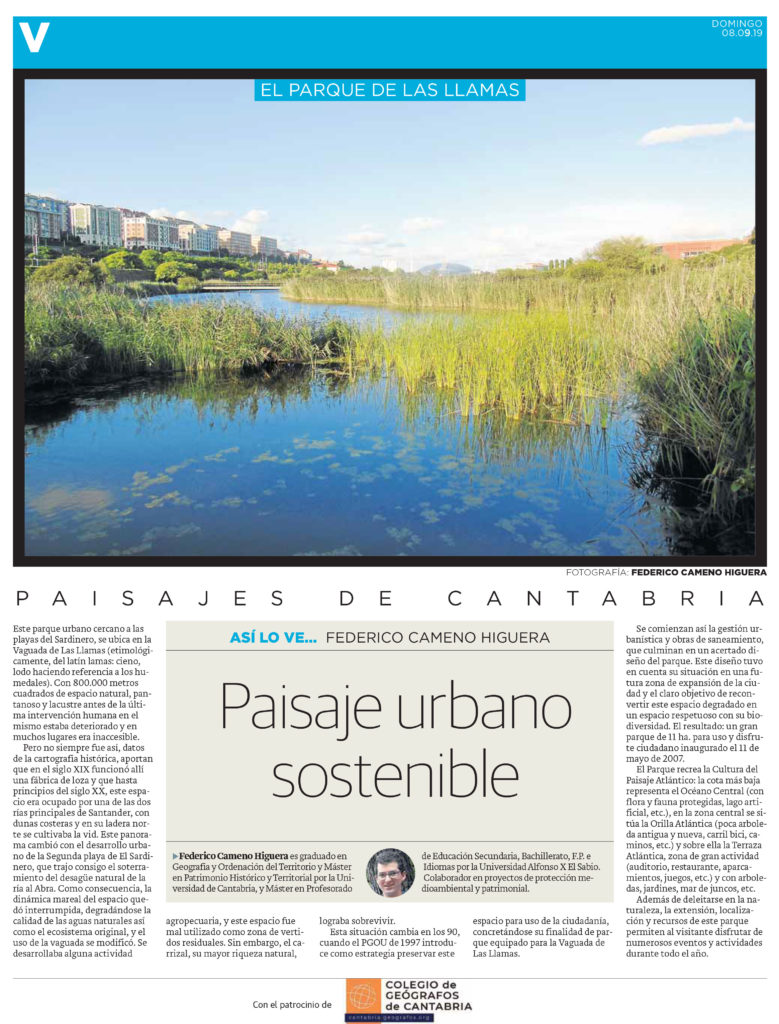 PDF del artículo publicado por el Diario Montañés el 8 de septiembre de 2019 y escrito por federico Cameno Higuera
