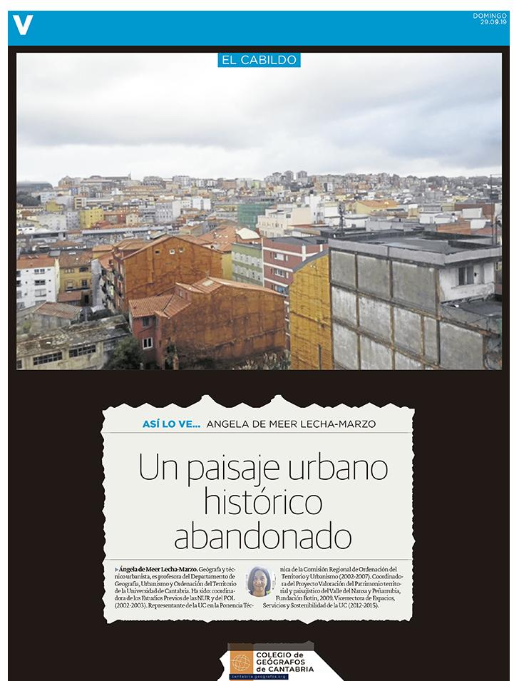 PDF del artículo publicado por el Diario Montañés el 29 de septiembre de 2019 y escrito por Angela de Meer Lecha-Marzo