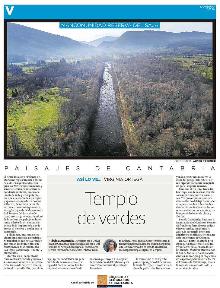 PDF del artículo publicado en el Diario Montañés el 10 de noviembre de 2019, escrito por Virginia Ortega. Foto de Javier Rosendo