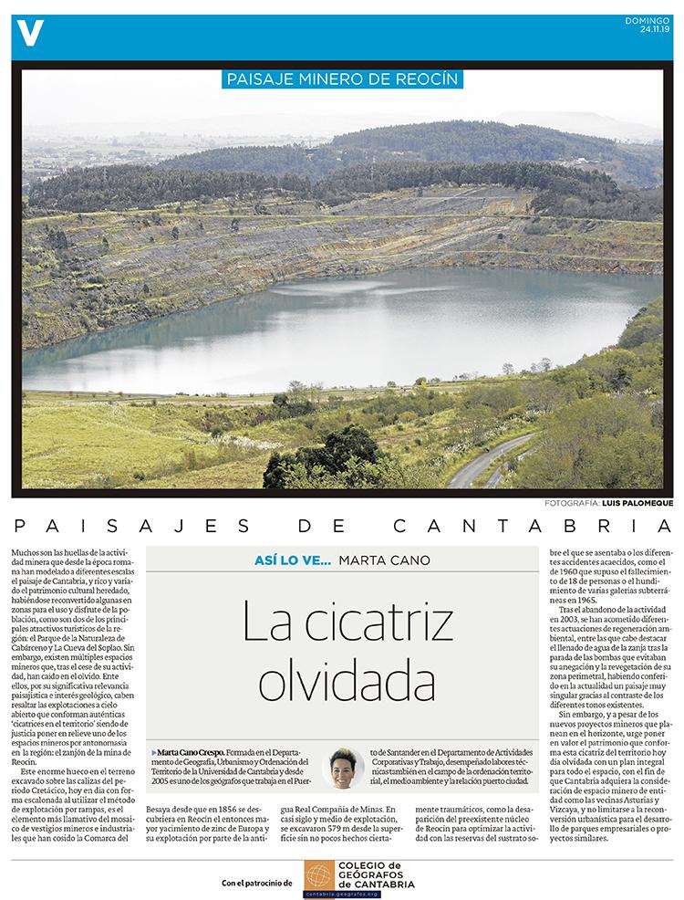 PDF del artículo publicado en el Diario Montañés el 24 de noviembre de 2019, escrito por Marta Cano. Foto de Luis Palomeque.