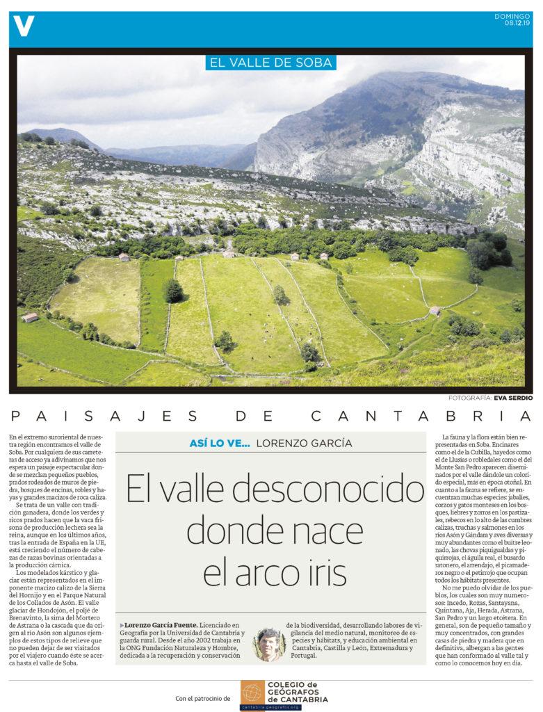 PDF del artículo publicado en el Diario Montañés el 8 de diciembre de 2019, escrito por Lorenzo García. Foto de Eva Serdio.