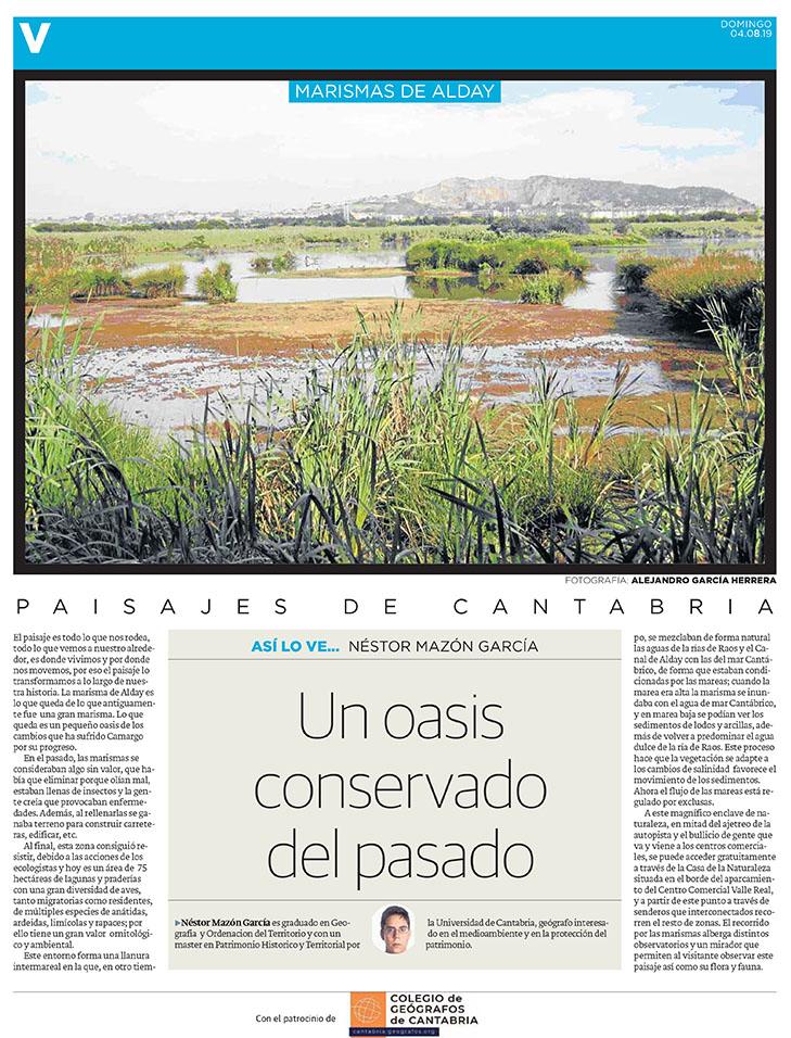 PDF del artículo publicado en el Diario Montañés el 4 de agosto de 2019, escrito por Nestor Mazón García. Foto de Alejandra García Herrera.