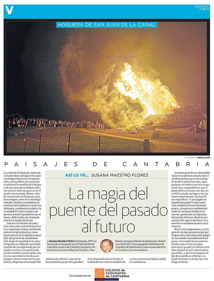 PDF del artículo publicado en el Diario Montañés el 11 de agosto de 2019, escrito por Susana Maestro Florez. Foto de Sergio Sainz.