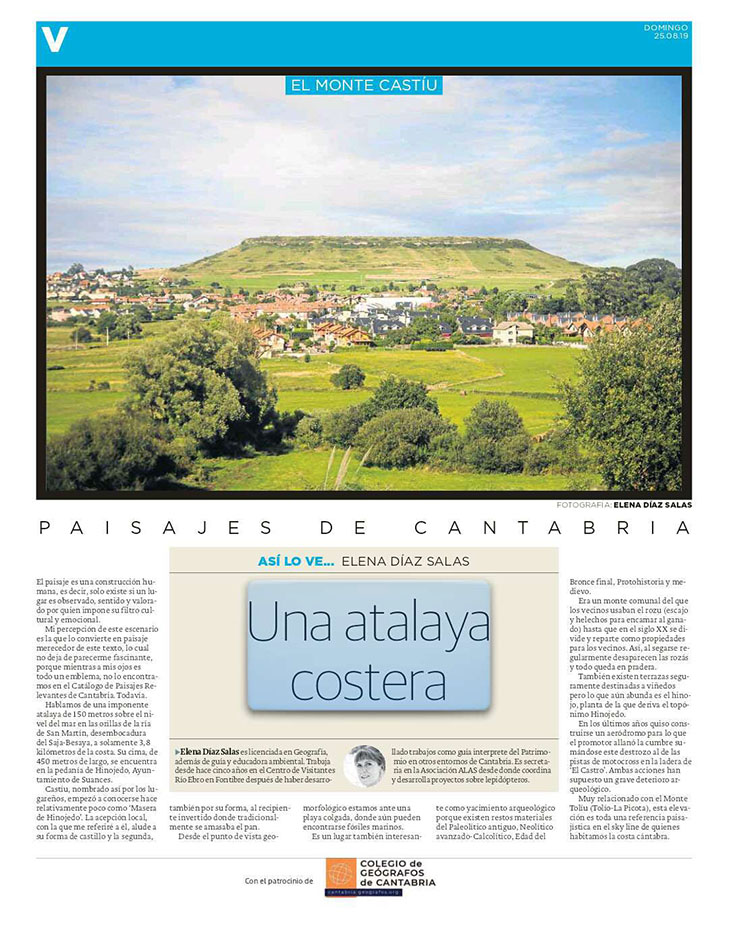 PDF del artículo publicado en el Diario Montañés el 25 de agosto de 2019, escrito por Elena Díaz Salas. Foto de Elena Díaz Salas.