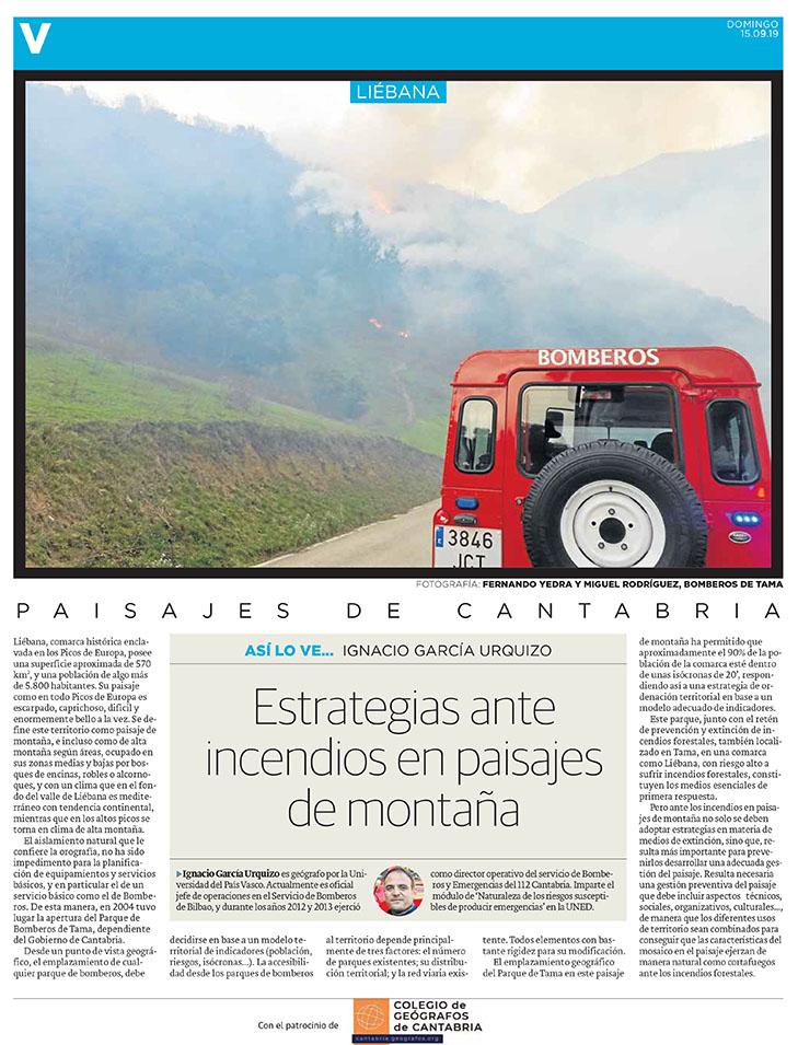 PDF del artículo publicado en el Diario Montañés el 15 de septiembre de 2019, escrito por Ignacio García Urquizo. Foto de Fernando Yedra y Miguel Rodríguez, Bomberos de Tai.