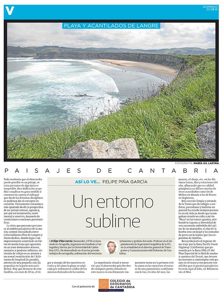PDF del artículo publicado en el Diario Montañés el 22 de septiembre de 2019, escrito por Felipe Piña García. Foto de María Gil Lastra.
