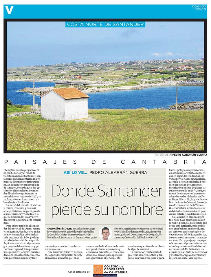 PDF del artículo publicado en el Diario Montañés el 28 de julio de 2019, escrito por Pedro Albarrán Guerra. Foto de Pedro Albarrán Guerra.
