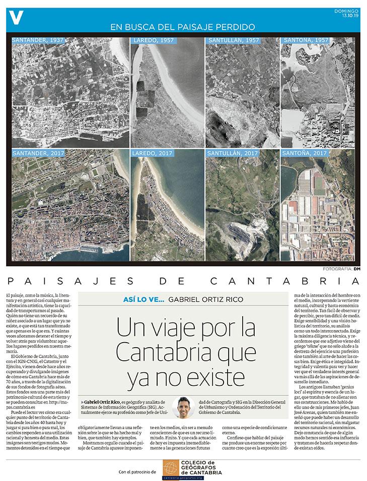PDF del artículo publicado en el Diario Montañés el 13 de octubre de 2019, escrito por Gabriel Ortiz Rico. Foto del Diario Montañés.
