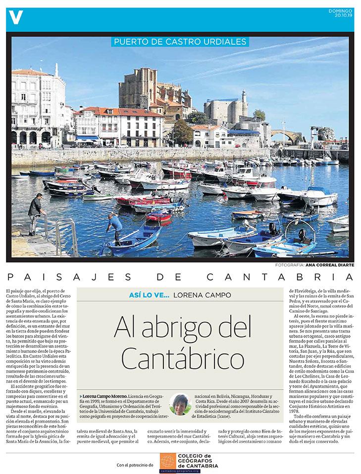 PDF del artículo publicado en el Diario Montañés el 20 de octubre de 2019, escrito por Lorena Campo. Foto de Ana Correal Diarte.