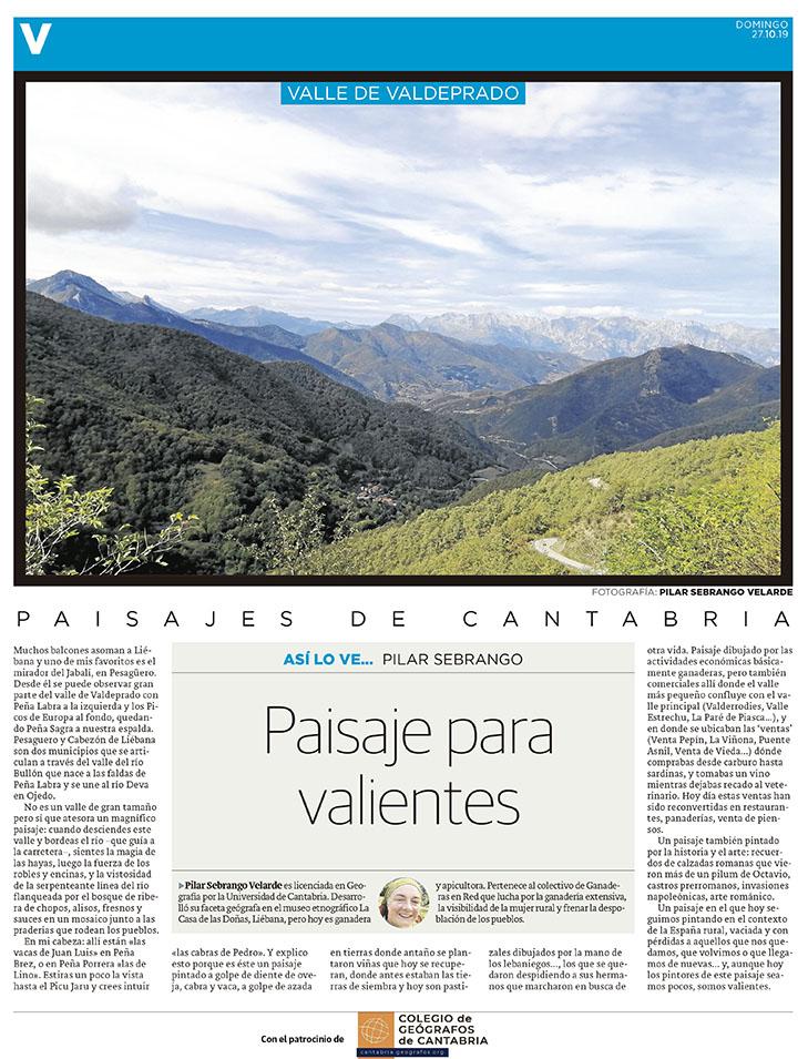 PDF del artículo publicado en el Diario Montañés el 27 de octubre de 2020, escrito por Pilar Sebrango Velarde. Foto de Pilar Sebrango Velarde.