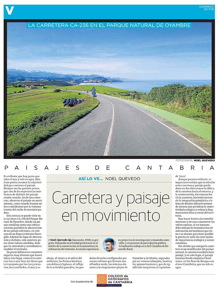 PDF del artículo publicado en el Diario Montañés el 3 de noviembre de 2019, escrito por Noel Quevedo. Foto de Noel Quevedo.