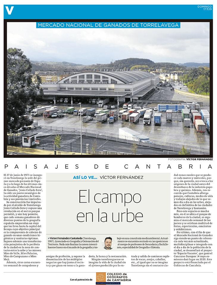PDF del artículo publicado en el Diario Montañés el 17 de noviembre de 2019, escrito por Víctor Fernández. Foto de Víctor Fernández.