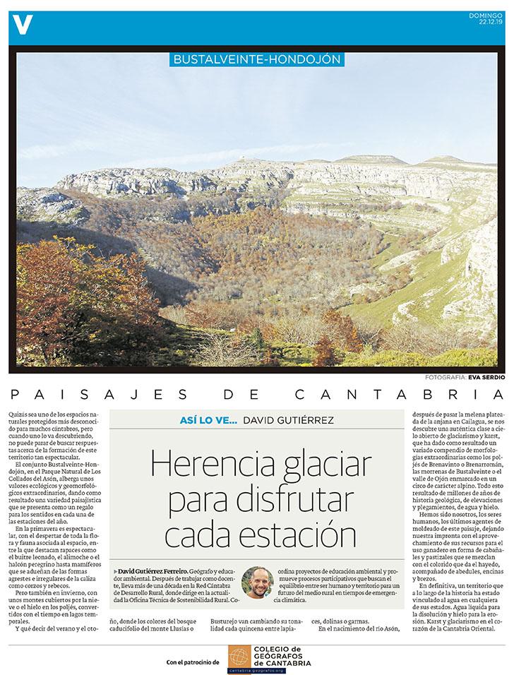 PDF del artículo publicado en el Diario Montañés el 22 de diciembre de 2019, escrito por David Gutiérrez. Foto de David Gutiérrez.