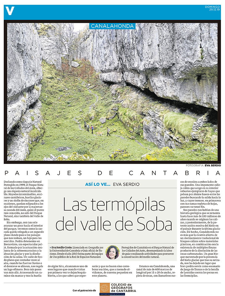 PDF del artículo publicado en el Diario Montañés el 29 de diciembre de 2020, escrito por Eva Serdio. Foto de Eva Serdio.