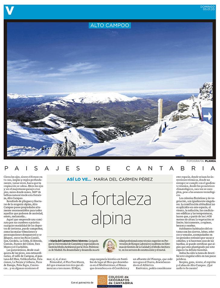 PDF del artículo publicado en el Diario Montañés el 5 de enero de 2020, escrito por María del Carmen Pérez. Foto de Planea.