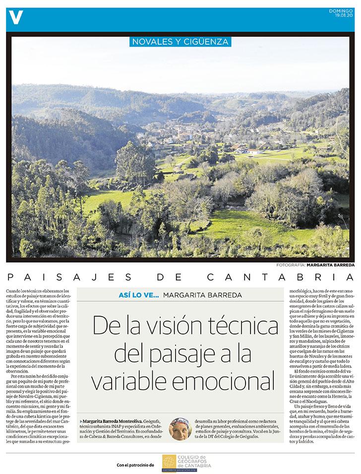 PDF del artículo publicado en el Diario Montañés el 19 de enero de 2020, escrito por Margarita Barreda. Foto de Margarita Barreda.
