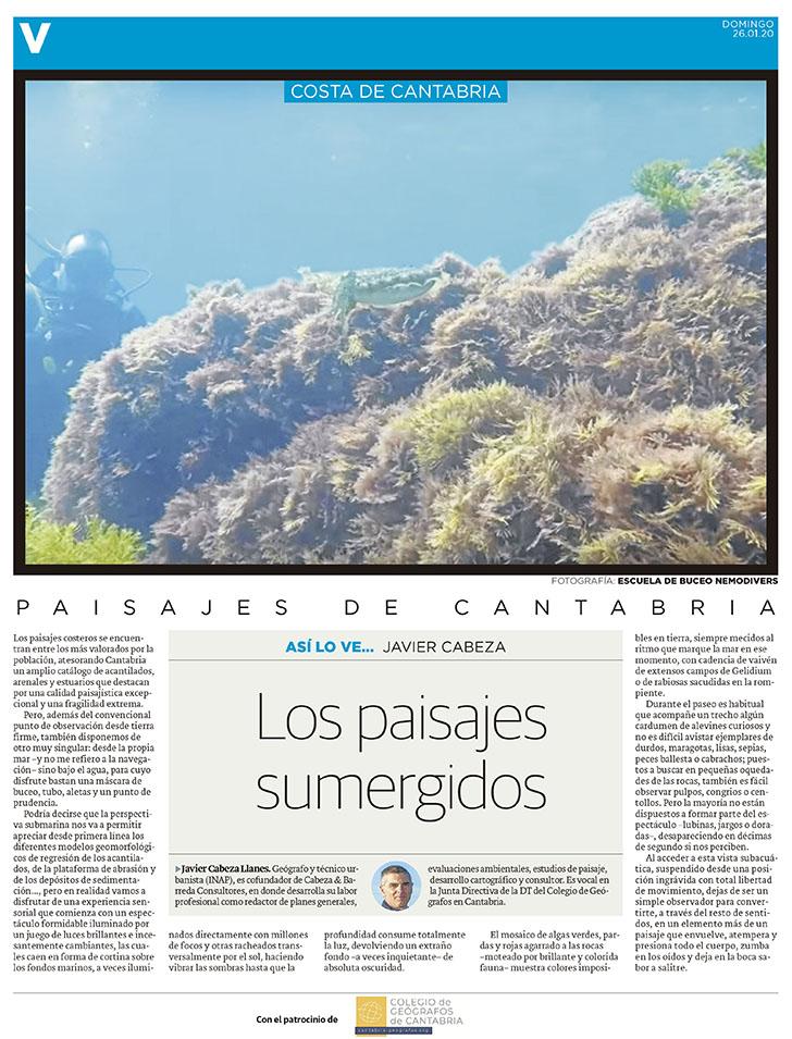 PDF del artículo publicado en el Diario Montañés el 26 de enero de 2020, escrito por Javier Cabeza. Foto de la escuela de buceo nemodivers.